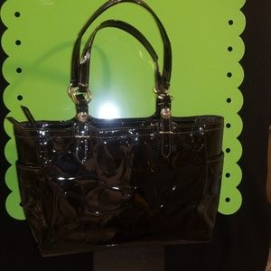 SOLD Coach Black Embossed Patent Tote Bag